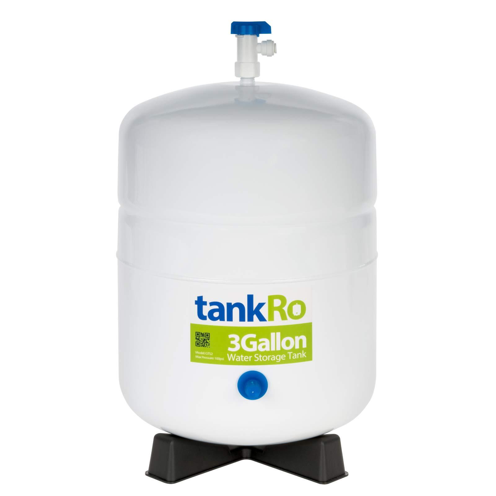 tankRo 3 Gallon RO Expansion Tank - Compact Reverse Osmosis Water Storage Pressure Tank with Free Tank Ball Valve by tankRo