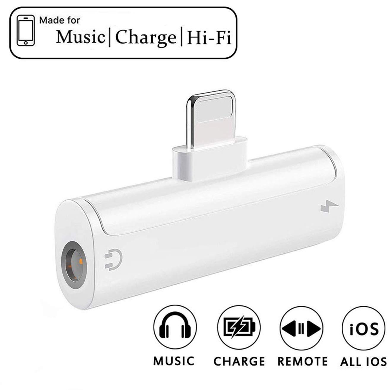 Kopfh/örer Adapter f/ür iPhone 7 Adapter 3,5mm Klinke Dongle Audio Splitter Lade Adapter f/ür iPhone 11 pro//8//8Plus//7Plus//XR Aux Adapter Zubeh/ör Kabel zum Aux-Audio-Anschluss Unterst/ützung iOS 12-9.1cm