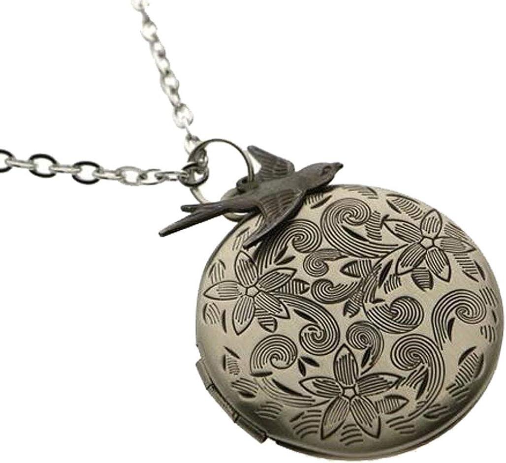 Vintage Antique Silver Engraved Flower Charm Photo Locket Necklace Swallow Bird Pendant 27 Chain