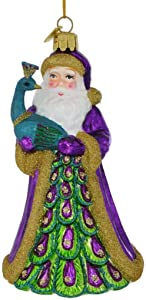 Kurt Adler Noble Gems Peacock Santa Hanging Ornament, 5.5 inches Tall