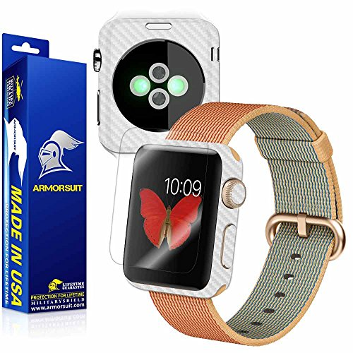 ArmorSuit MilitaryShield - Apple Watch 42mm (Series 2) White Carbon Fiber Skin Back Protector Film + Anti-Bubble HD Clear Screen Protector For Apple Watch 42mm (Series 2) by ArmorSuit