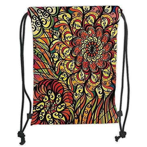 (New Fashion Gym Drawstring Backpacks Bags,Colorful,Abstract Vintage Style Curly Floral Design Spirals Swirled Petals Creative Vibrant,Multicolor Soft Satin,Adjustable String)