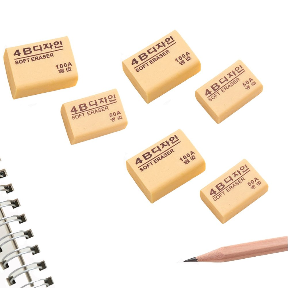 Drawing Art Erasers,Block Eraser Combination for Office and School,Set of 6,Assorted Sizes,Beige