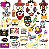 Mexican Fiesta Photo Booth Props,Cinco De Mayo Mexican Party Favors,Selfie Props, Photo Booth Accessories, Party Supplies, Assorted Designs for Dia de Muertos, Theme Parties (Fiesta) 47pcs