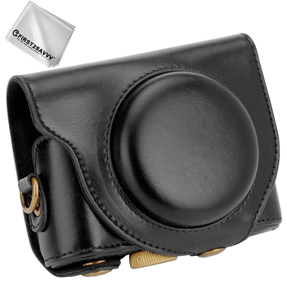First2savvv Negro Funda C/ámara Cuero de la PU c/ámara Digital Bolsa Caso Cubierta con Correa para Sony Cyber-Shot DSC HX99 HX95 HX90V HX80 XJD-Sony HX99-01G11