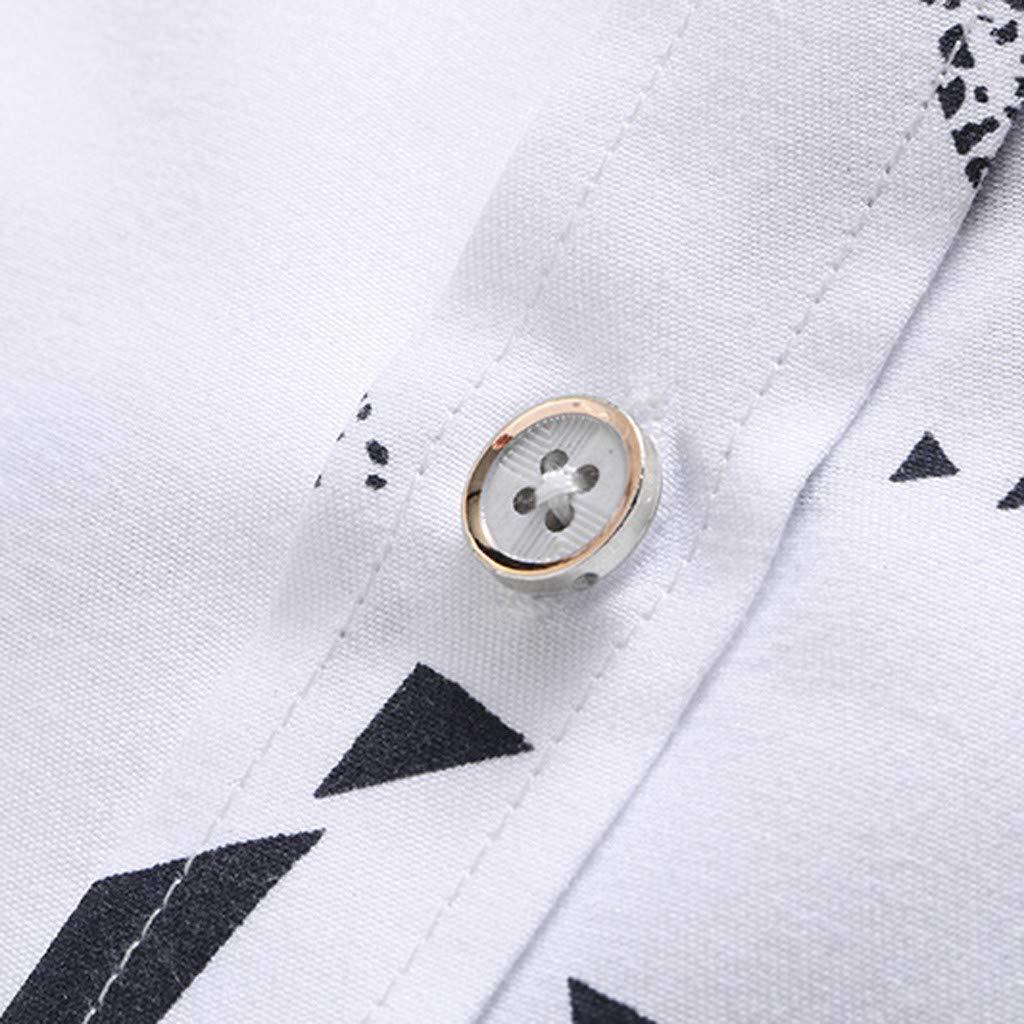 Mens Turn-Down Collar Summer Business Leisure Short Sleeve Plus Size Printing Shirt