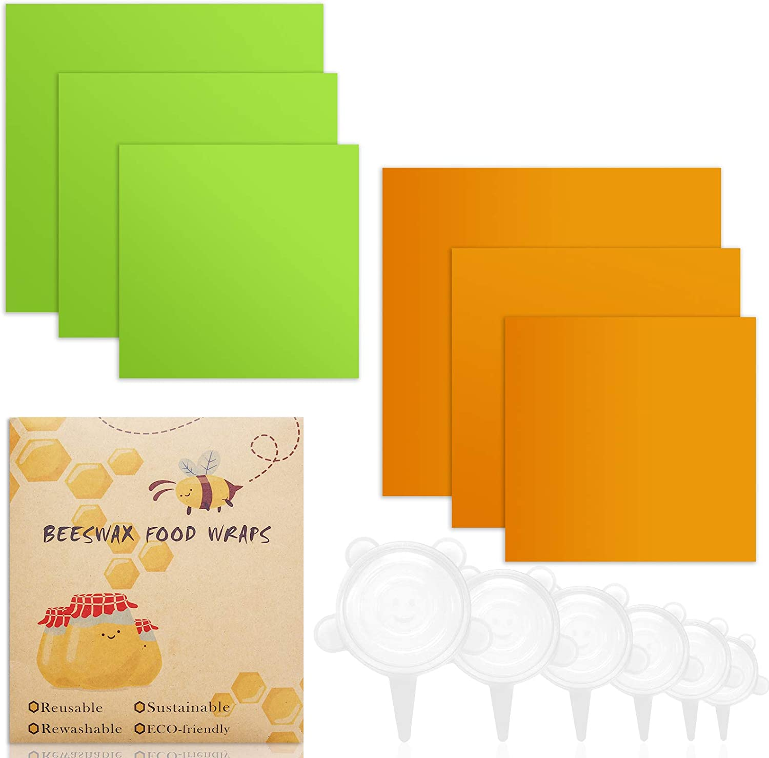 30pcs Silicone Reusable Wraps Seal Bowl Covers Food Saving Storage Stretch Lids