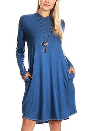166a558a4e3a WIWIQS Damen Herbst Langarm-Lose mit Kapuze beiläufige Schwingen Taschen  Kleid  Amazon.de  Bekleidung