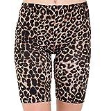 Classy Trendz Womens Printed Stretchy Gym Bike Cycling Tights Hot Pants Shorts (Leopard Brown, SM)