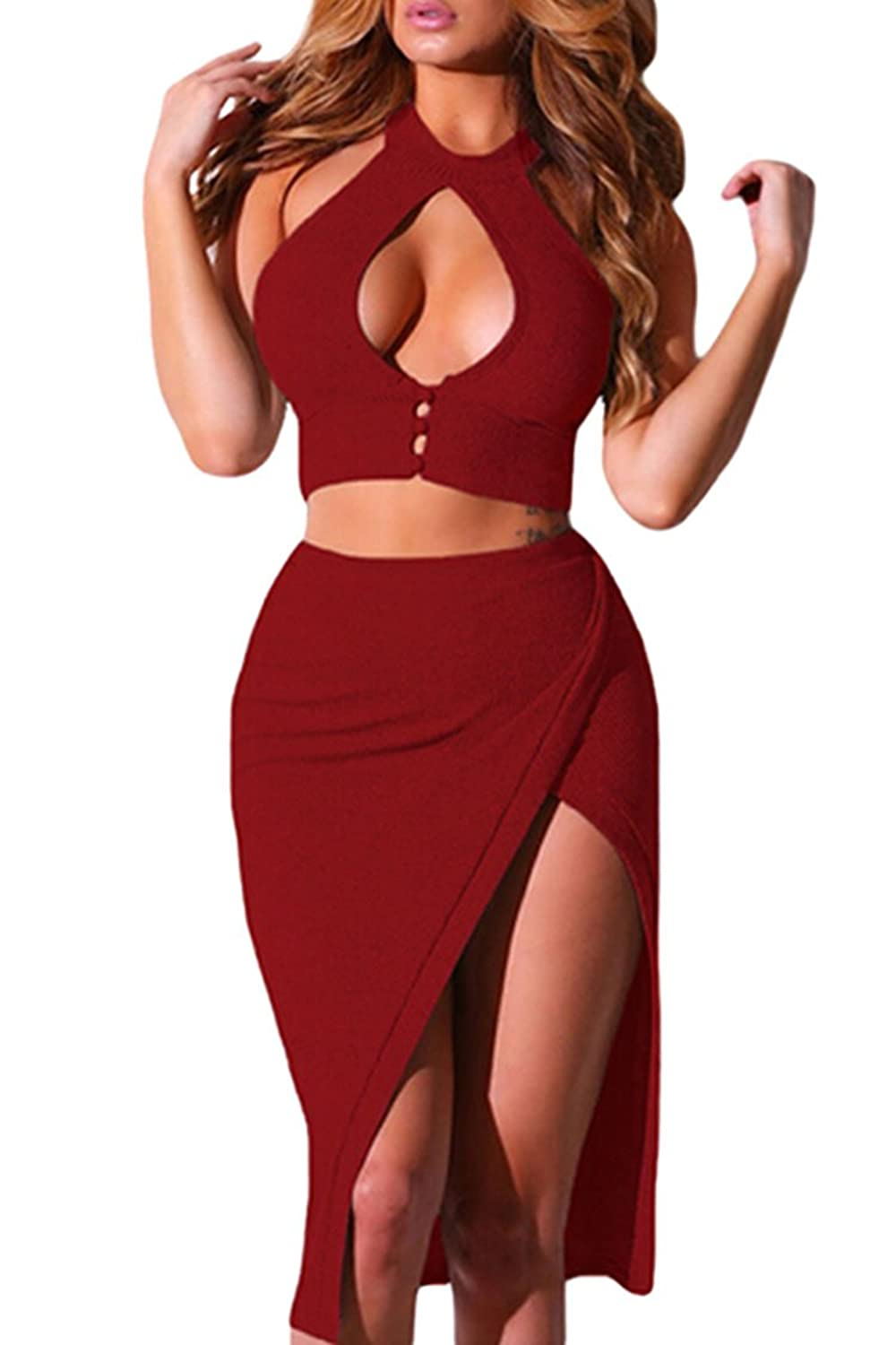 Merry21 Women's Two Piece Buttoned Cut Out Crop Top Midi Slit Skirt Dress Outfit
