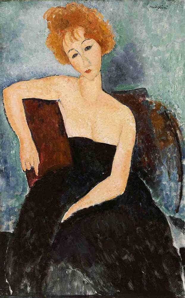 JH Lacrocon Amedeo Modigliani - Chica Pelirroja En Vestido De Noche Reproducción Cuadro sobre Lienzo Enrollado 40X65 cm - Retrato De Mujer Pinturas Impresións Decoración Muro