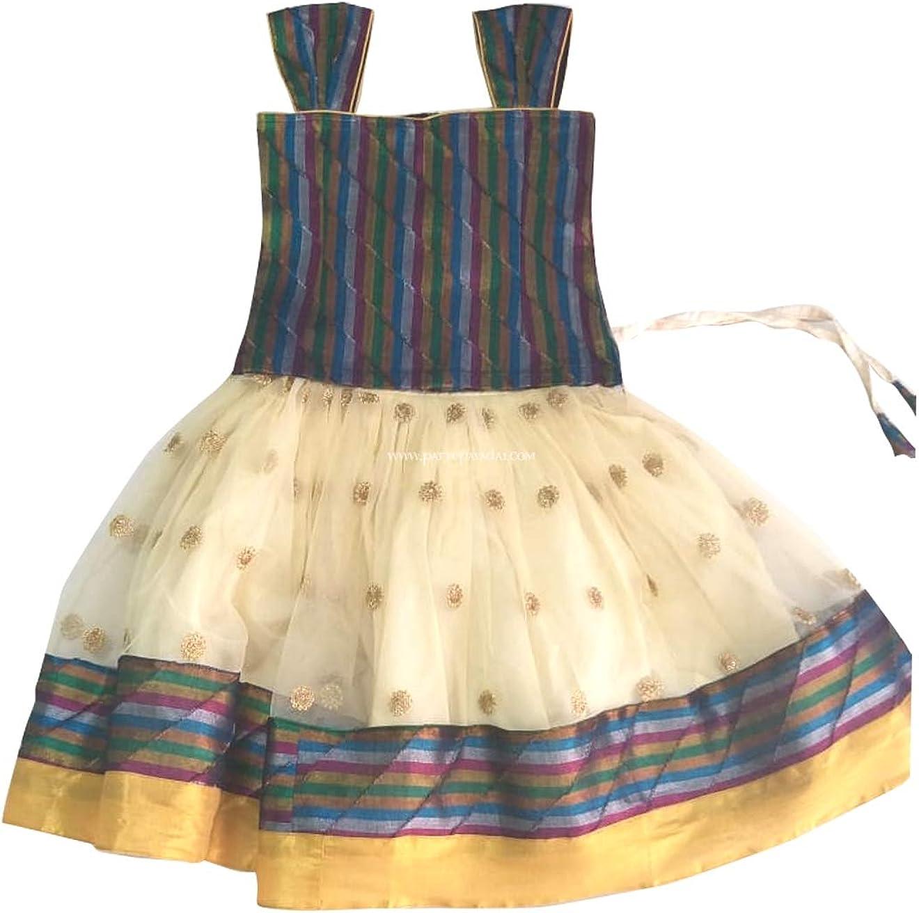 Pattu Pavadai Cream and Multi Netted Fancy Langa for Baby Girls and Kids