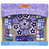 Melissa & Doug Sparkling Flowers Wooden Bead Set: 45+ Beads and 3 Lacing Strings