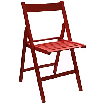 Scaramuzza Modo Silla Plegable de Madera de Color roja ...