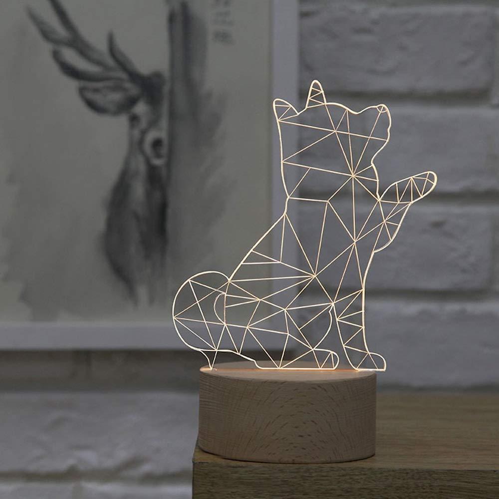 Kreative einfache Plexiglas Holz 3D Tischlampe, nordische dekorative Shiba Inu Form LED SMD Schreibtischlampe für Kinder, Schlafzimmer Nachtlicht Geschenk Harz Tischlampe Acryl Tischlampe