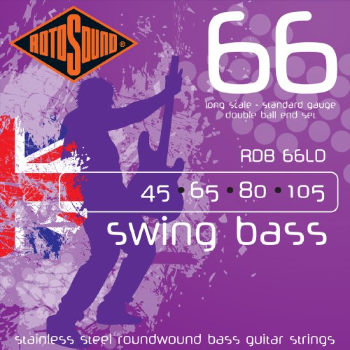 (Rotosound RDB66LD Swing Bass 66 Stainless Steel Double Ball End Bass Guitar Strings)