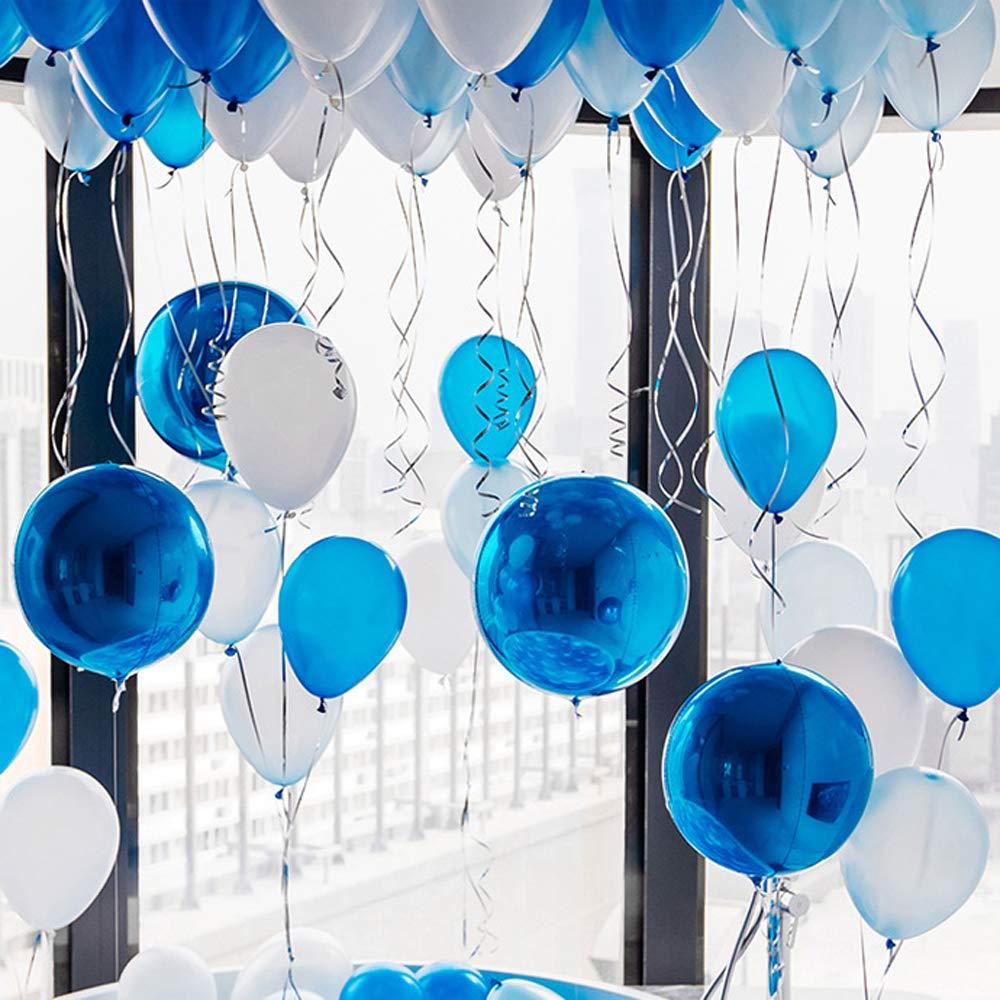 30 PCS Palloncini di Coriandoli Palloncini in Lattice Festa Decorazioni Palloncini per Matrimonio Compleanno Festa Decorazione Blu, Bianco, Oro ZOCONE 12 Pollici Palloncini in Lattice