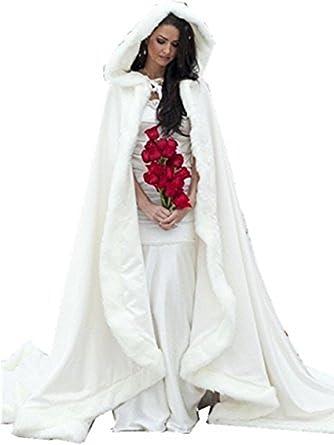 MWSdress White Faux Fur Long Women Formal Wedding Cape Cloak with Hood