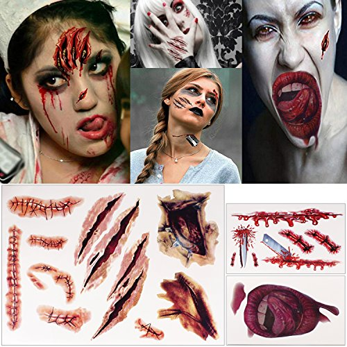 Halloween Temporary Tattoos, Ucio Temporary Tattoos, Fake Scars Tattoos for Halloween, Halloween Wound, Fake Injury Blood, Fake Cuts Tattoos, Perfect for Halloween Makeup and Cosplay (12 Sheets) for $<!--$7.99-->