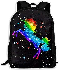 CTWUVS ADPR Galaxy Rainbow Horse Waterproof Backpack Lightweight School Backpack Laptop Bag for Students Black