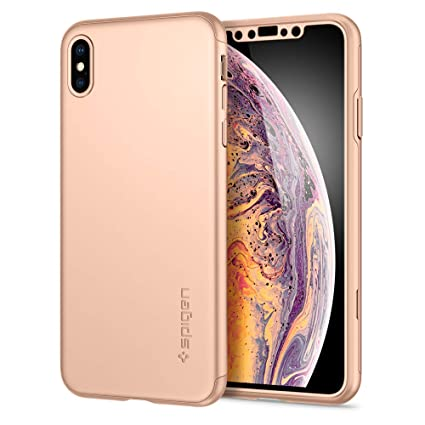online retailer 1a36b 24a96 Spigen Thin Fit 360 with Exact Slim Full Protection with Tempered Glass  Screen Protector Designed for Apple iPhone Xs Max Case (2018) - Gold