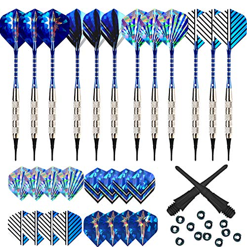 Bullout Professional Soft Tip Darts Set,12 Pcs 18g Plastic Tipped Dart, Stainless Steel Metal Barrels, Blue Aluminum Rods Shafts, 24 Flights(6 Style), 60 Safety Tip Points For Electronic ()