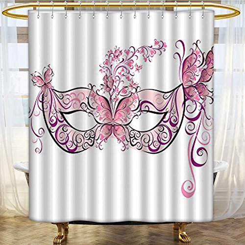 (Shower Curtains Sets Bathroom Butter Masks for a Masquerade Design Pink White Satin Fabric Sets Bathroom W48 x H72)