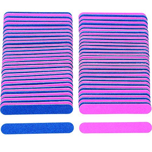 osable Nail Files Double Sided Emery Boards Manicure Tools, Blue and Pink ()