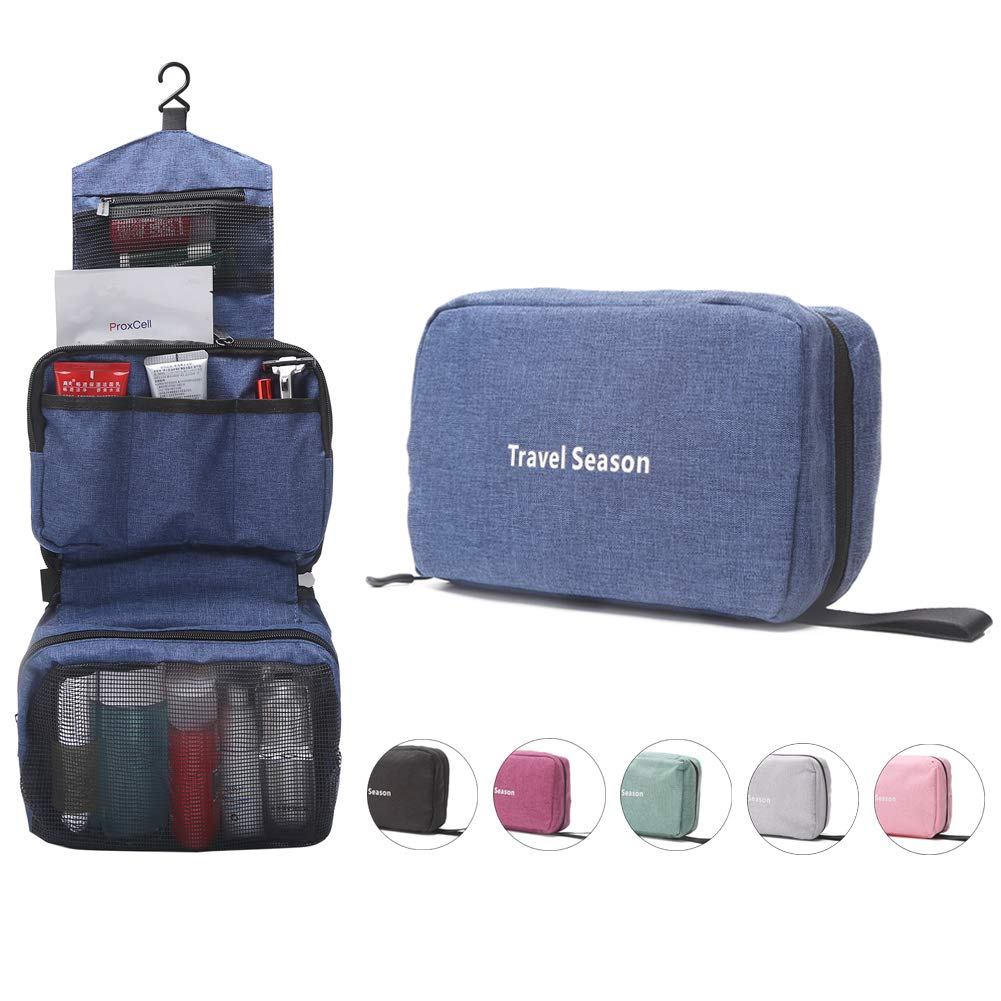 Canvas Hanging Toiletry Bag | Compact Travel Case | Cosmetic Organizer | Personal Care Hygiene Dopp Kit | Bathroom Accessories Pouch (Navy)