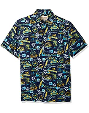 Men's Short Sleeve Landshark Print Rayon Shirt