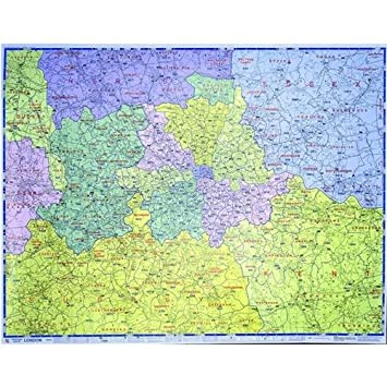 Greater London Postcode Map Laminated Wall Map Amazon Co Uk
