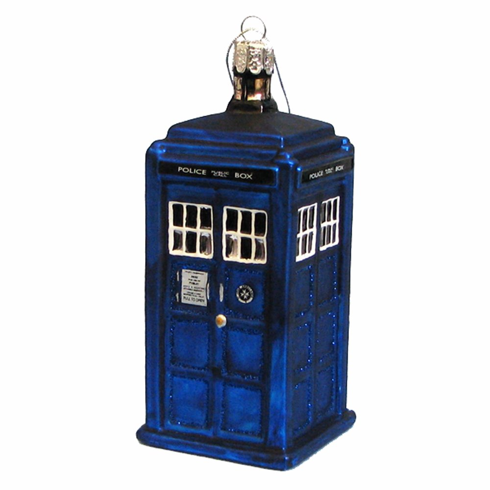Amazon.com: Kurt Adler Doctor Who Tardis Figural Ornament (Glass ...