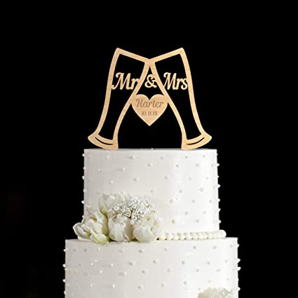 Personalized Glass Wedding Cake Toppers