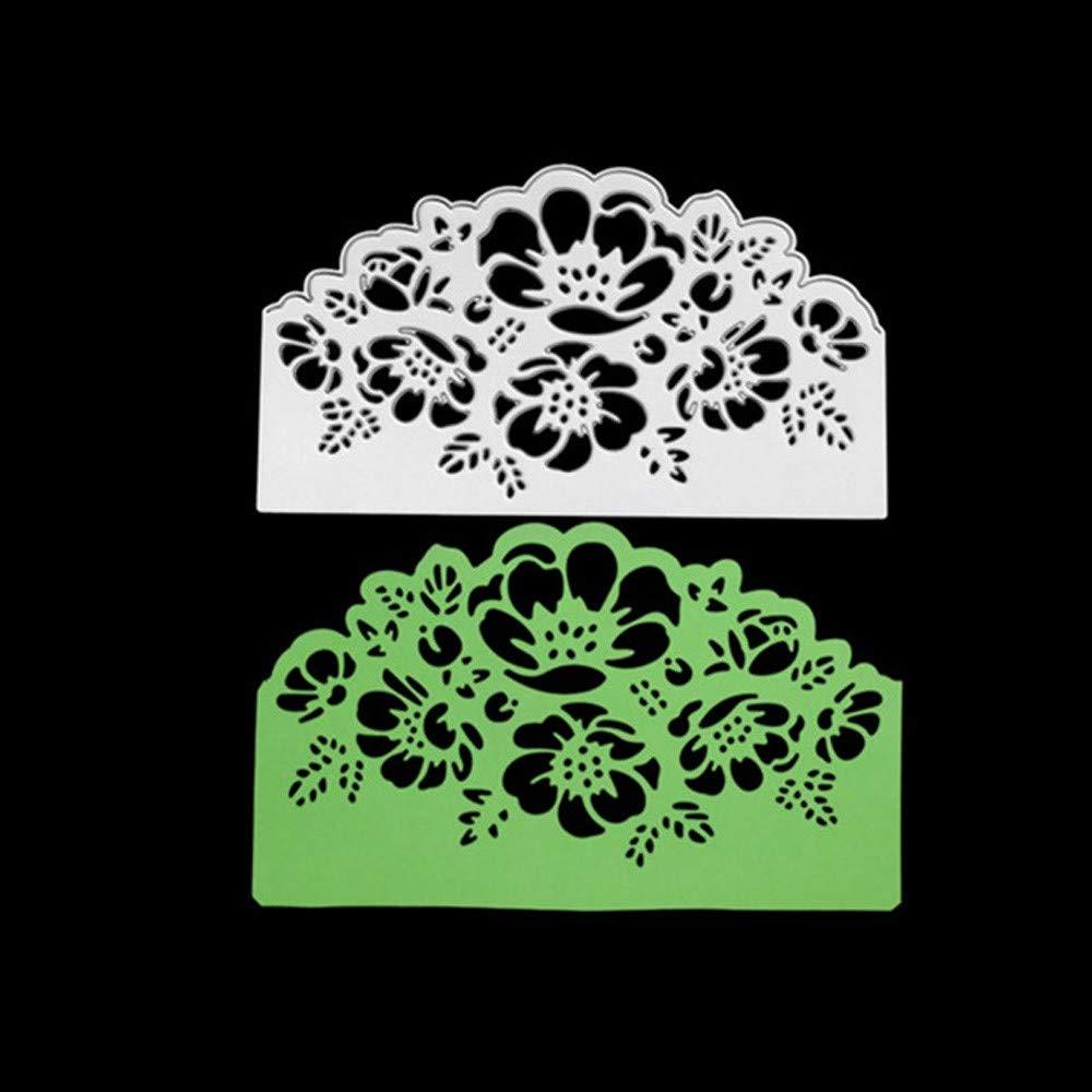 tarjetas de papel A cuadradas Plantillas de metal para cortar troqueles dise/ño de coraz/ón de flores AS SHOW acero al carbono /álbumes de recortes para manualidades