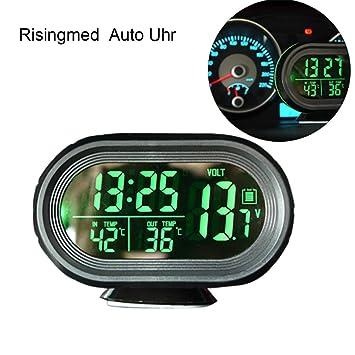 Reloj multifunción con termómetro digital para automóvil con retroiluminación LED verde