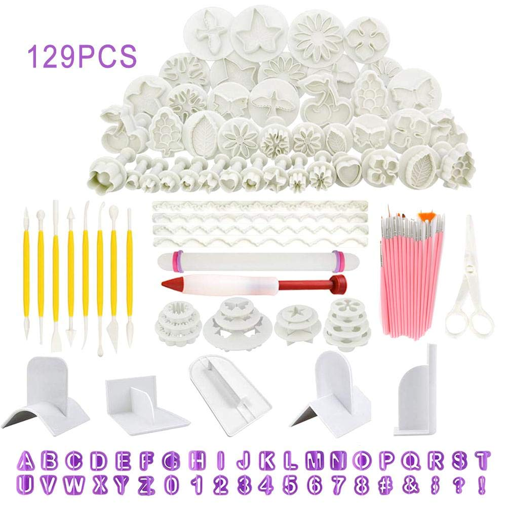129pcs Cake Decorating Tools Fondant Icing Cutters Sugarcraft Tools Kit Plunger Cutters Moulds Set Cup Cake Icing Smoother Rolling Pin