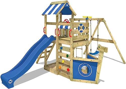 WICKEY Parque infantil de madera SeaFlyer con columpio y tobogán azul, Casa de juegos de jardín con arenero y escalera para niños: Amazon.es: Bricolaje y herramientas
