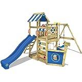 WICKEY Parco giochi SeaFlyer Gioco da giardino per bambini con altalena, arrampicata, scivolo e tanti accessori, scivolo blu + telone blu