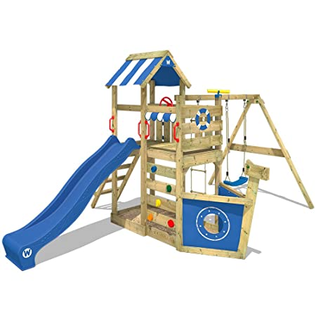 WICKEY Climbing frame SeaFlyer Climbing tower with swing, slide and ...
