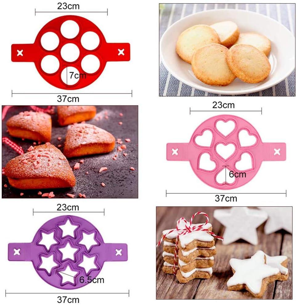 pasticceria stampo per uova 3 pezzi a forma di cuore e rotondo e a forma di stella fissatore per uova e frittelle Stampi in silicone per pancake per risparmiare tempo di cottura cupcake