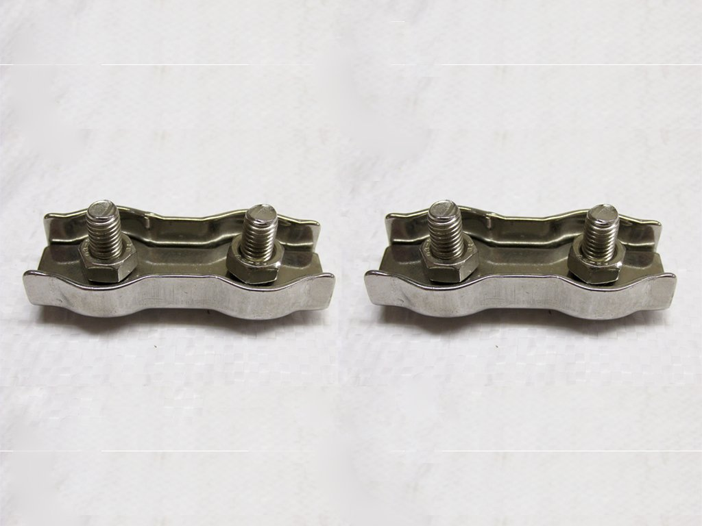 Marine Boat Clamps x2 8MM Stainless Steel Duplex Wire Rope Grips