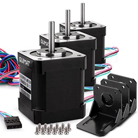 Quimat Nema 17 Motor paso a paso de 3 Piezas 1.7A 0.59Nm (84oz.in) 47mm con 1m 4-Pin Cable + Conector + 3 Soporte para Impresora 3D / CNC QD03: Amazon.es: Industria, empresas y ciencia