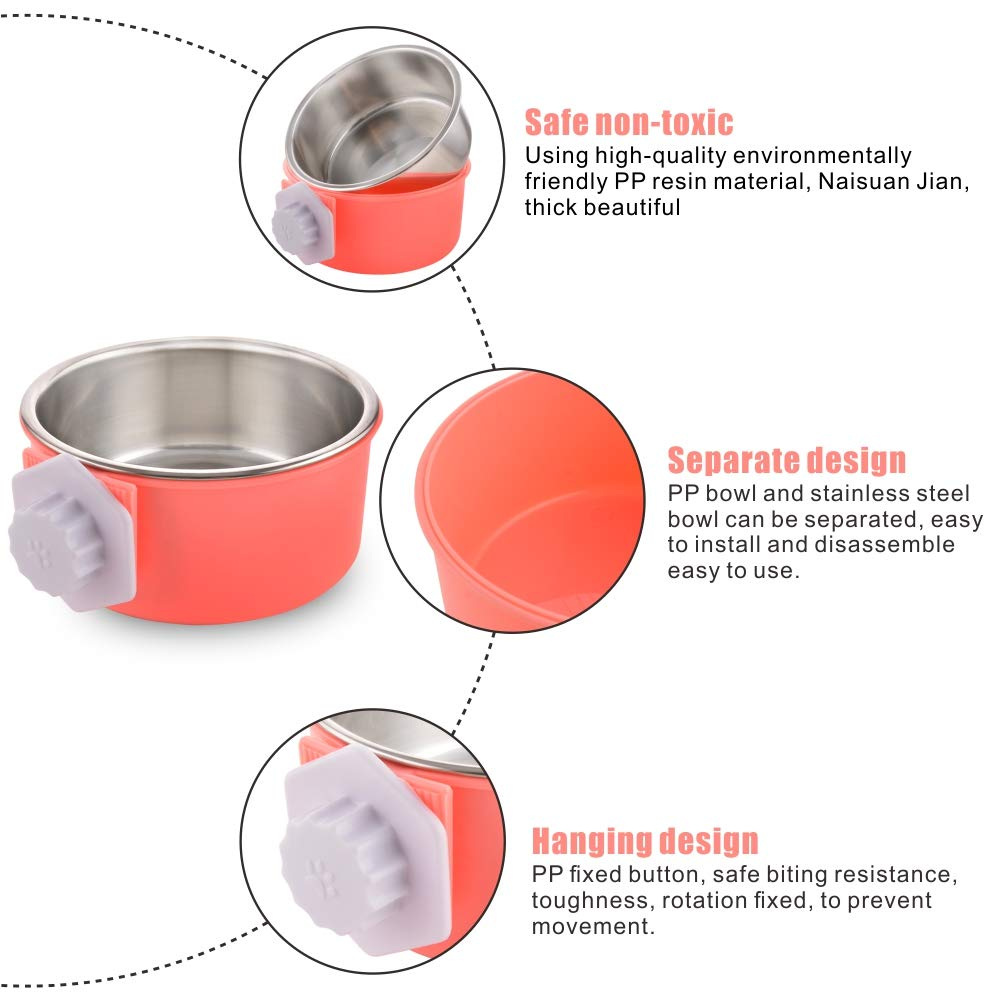 Ciotola da Gabbia per Animali Cani e Gatti MOACC Ciotola di Cane in Acciaio Inox Rimovibile Appeso Pet Gabbia Ciotola