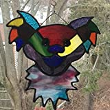 Grateful Dead Inspired Dancing Bear Stained Glass in Rainbow