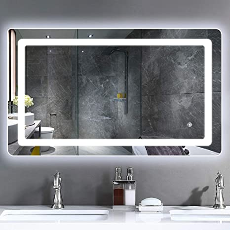 Amazon Com Rottogoon 40x24 Inch Led Lighted Bathroom Mirror Wall Mounted Vanity Mirror With Light Color Adjustable Stepless Dimming Light Anti Fog And Memory Function For Horizontal And Vertical Hanging Home Kitchen