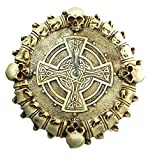 Round Skull Bone Wall Clock Ancient Cross Knotwork Resin
