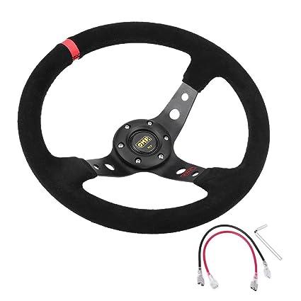 35cm // 14inch 6-Bolts Auto Racing Steering Wheel negro Azul volante de carreras y bot/ón de bocina