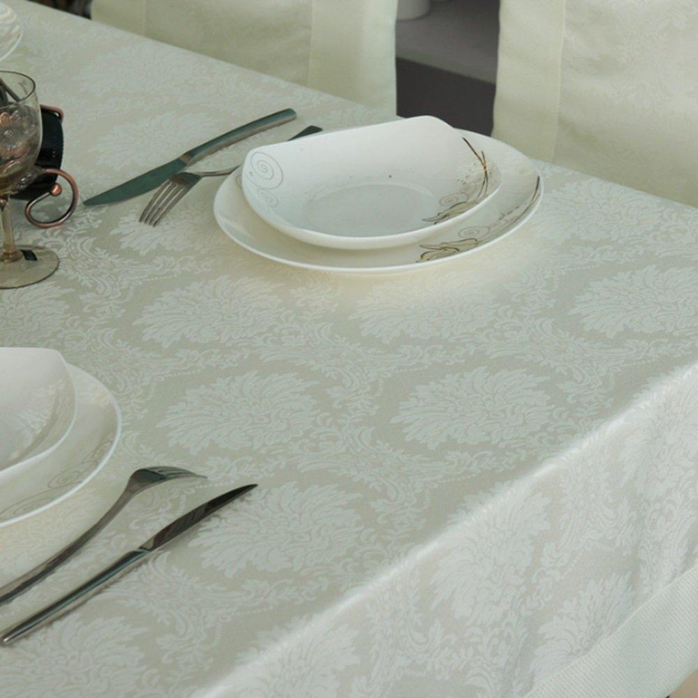 140140cm Tischdecken Speisetischdecke Wasserdichte Home Tuch Rechteckiges einfaches Wohnzimmer Tapeten Jacquard-Kaffee Tuch (Größe optional) (Milch weiß) langlebig (größe   140140cm)