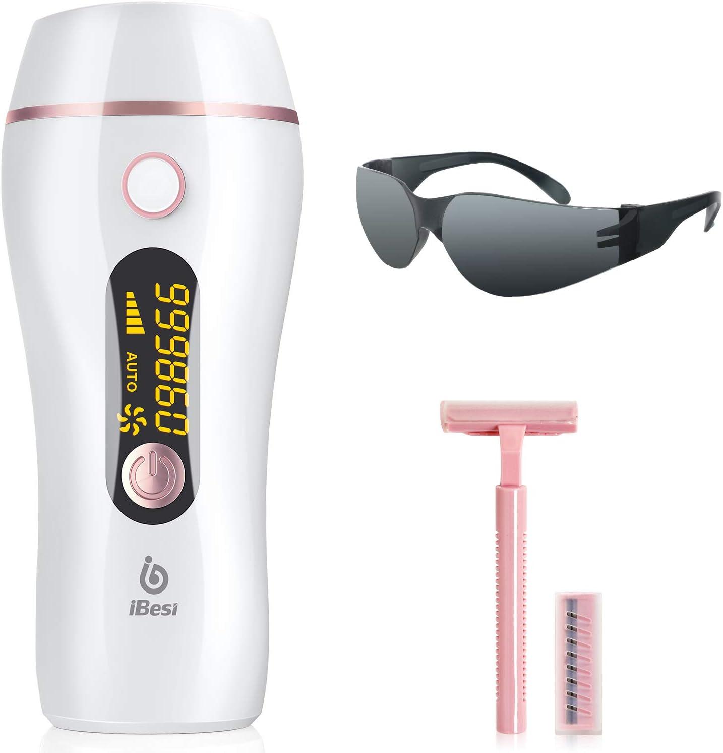 iBesi Depiladora de Luz Pulsada IPL, Depilación Permanente con 999,999 Flashes para Mujer y Hombre, Depiladora Laser Profesional Indoloro