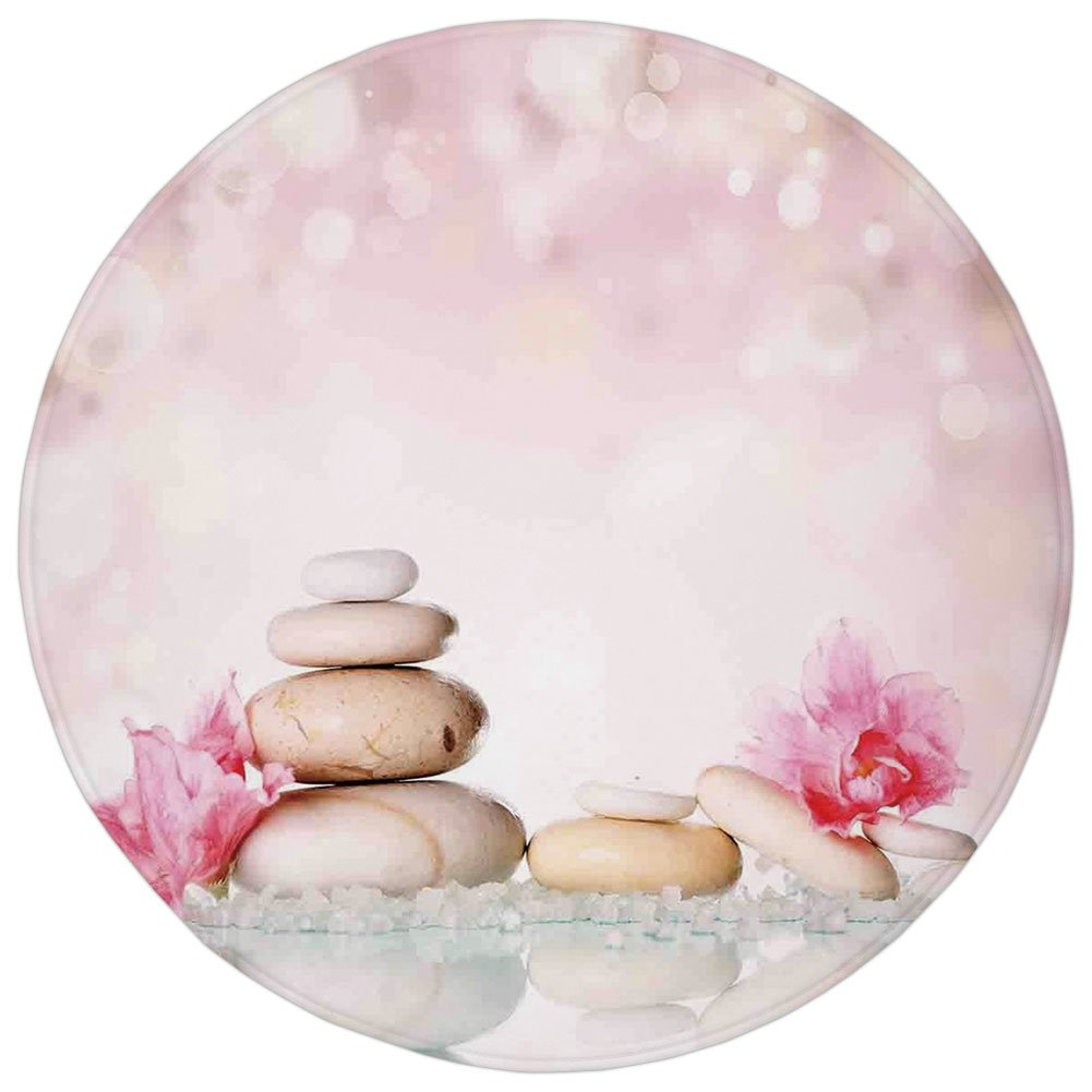 Round Rug Mat Carpet,Spa,Bohemian Zen Stones and Soft Petals Therapy Tradition Chakra Yoga Asian Picture,Light Pink Peach,Flannel Microfiber Non-slip Soft Absorbent,for Kitchen Floor Bathroom